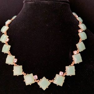 J. Crew Light Green Necklace with stone accents